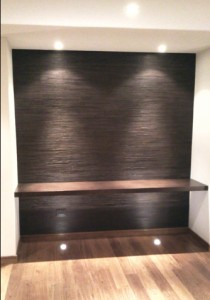 Leather strips wall mural wenge